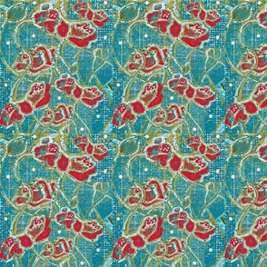 Summer Festival Bohemian - Hand Drawn Poppies On Denim Texture