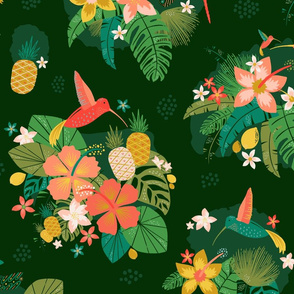 Hummingbird + Dragonfly Tropical Toile Wallpaper // Island Paradise Flowers, Birds, and Fruit // Pineapple, Lemon, Hibiscus, Plumeria, Foliage, Leaves, Jungle, Palm, Fronds //  © Zirkus Design
