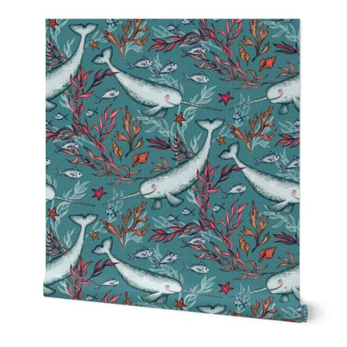 Narwhal Toile - teal blue