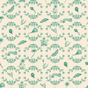 Retro Toile Floral Green-Creme
