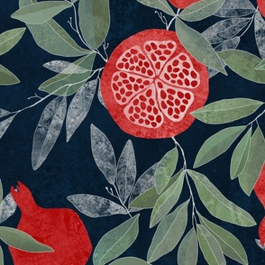 Pomegranates on navy