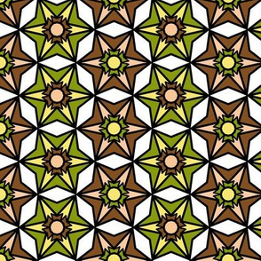 Olive Green, Brown and White Geometric Retro Pattern