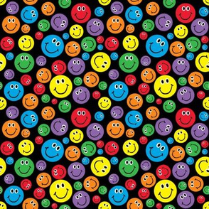 "4"" Rainbow Smiley Faces Pattern Black"