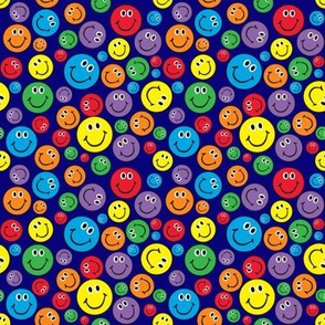 """4"""" Rainbow Smiley Faces Pattern Blue"""