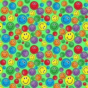 """4"""" Rainbow Smiley Faces Pattern Green"""