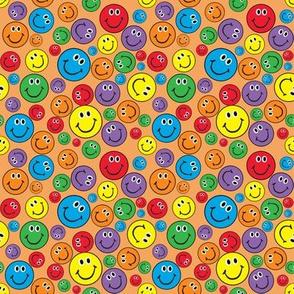 "4"" Rainbow Smiliey Faces Pattern Orange"