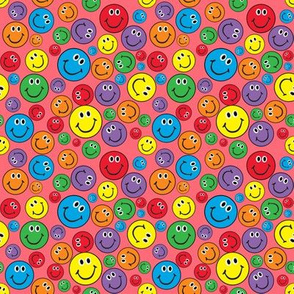 """4"""" Rainbow Smiley Faces Pattern Pink"""