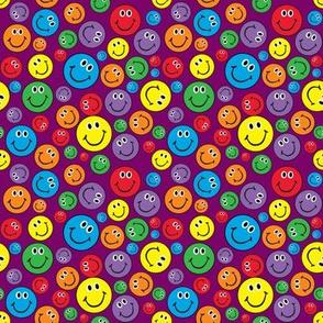 "4"" Rainbow Smiley Faces Pattern Purple"