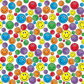 "4"" Rainbow Smiley Faces Pattern White"
