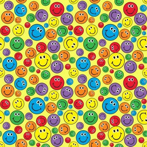 """4"""" Rainbow Smiley Faces Pattern Yellow"""