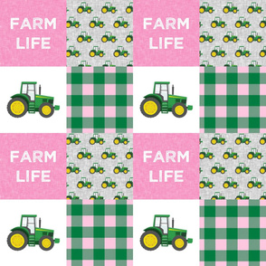 Farm Life - Tractors - Green and Pink - Plaid - LAD20
