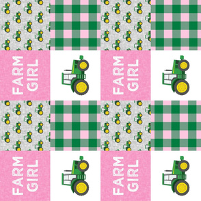 Farm Girl  - Tractors - Green and Pink - Plaid (90) - LAD20