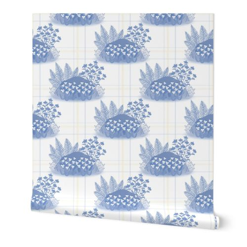 Violet Pansy Rock Garden Toile in Periwinkle