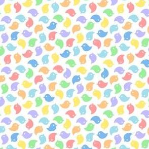 Micro Tiny Birds Rainbow on White
