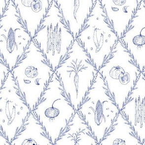 Vegetable Soup Kitchen Toile Navy