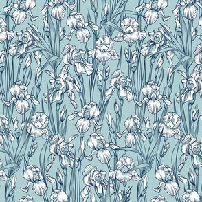 Toile Just Iris Small   Malibu Blue+White+Navy