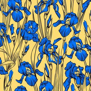 Toile Just Iris   Medium Yellow+Royal Blue+Black