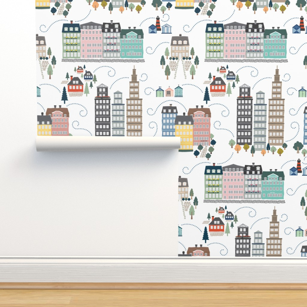 Isobar Durable Wallpaper featuring Whimsical Modern Toile by twigged