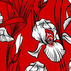 Toile Just Iris   Red+Black+White