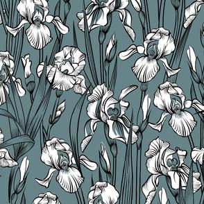 Toile Just Iris Flowers   Grayed Teal Green+Black + White