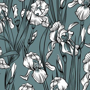 Toile Just Iris Flowers Small   Grayed Teal Green+Black + White