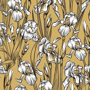 Toile Just Iris Flowers   Golden Yellow+Black + White