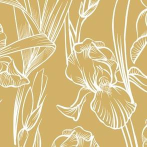 Toile Iris Flowers   Golden Yellow + White