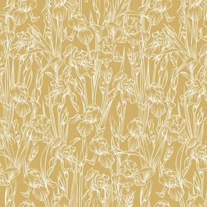 Toile Iris Flowers Small   Golden Yellow + White