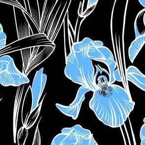 Toile Twilight Iris   Black+Light Blue+White