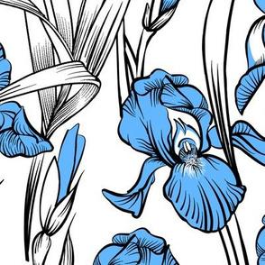 Toile Just Iris   Light Blue+Black+White