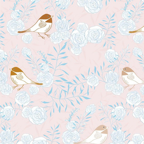 Pretty Birds - Blue + Gold (large scale)