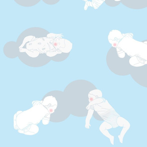 My babies sleeping_Grey clouds on soft blue