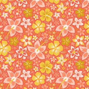 Salmon Hawaiian Flower Garden // Tropical Toile Coordinate // Island Paradise Hibiscus + Plumeria Floral // © Zirkus Design