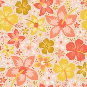 Blush Hawaiian Flower Garden // Tropical Toile Coordinate // Island Paradise Hibiscus + Plumeria Floral // © Zirkus Design