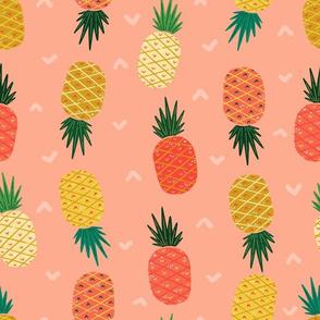Salmon Pink Bold Graphic Colorful Pineapples // Tropical Toile Coordinate // Island Paradise Fruit Stripe Pattern // © Zirkus Design