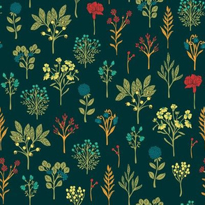 Teal, Red & Orange Dainty Floral Pattern
