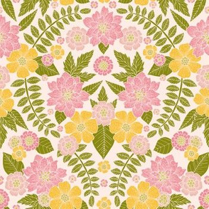 Spring Floral in Pink, Green & Yellow