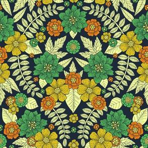 Green, Yellow, Orange & Navy Modern Floral Pattern