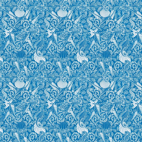 small sea horses and shells toile in teal