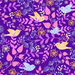 Birds textured in magical garden - purple