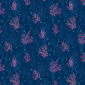 Pink Corals & Seaweeds (navy blue)