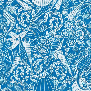 large sea horses and shell toile in teal