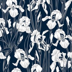 Toile Twilight Iris | Navy+Silvery Gray+White