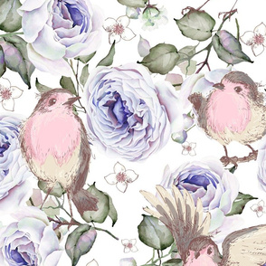 LARGE UPHOLSTERY SPARROWS BIRDS AND ROSES FLOWERS SPRING ON WHITE FLWRHT