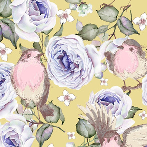 LARGE UPHOLSTERY SPARROWS BIRDS AND ROSES FLOWERS SPRING ON YELLOW FLWRHT