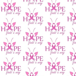 Hope finds a way- Pink ribbon with butterfly to symbolize breast cancer awareness