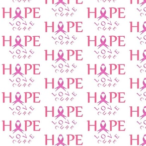 Pink ribbon with HOPE to symbolize breast cancer awareness