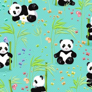 Panda with bamboo, bright turquoise background