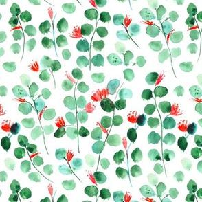 Blooming silver dollar eucalyptus - watercolor leaves