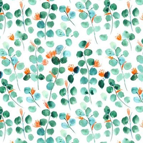 Small scale blooming dollar eucalyptus - watercolor leaves